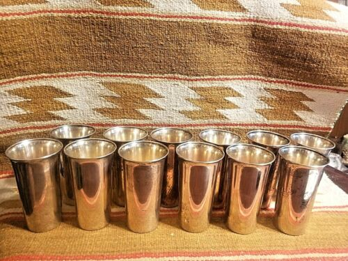 """12 FINE WALLACE STERLING SILVER 12oz MINT JULEP CUPS TUMBLERS 5.25"""" TALL WAS3258"""