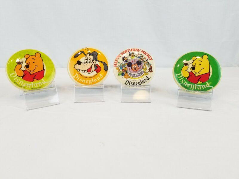 4 Vintage Disneyland Pins Pooh, Goofy And Mickey