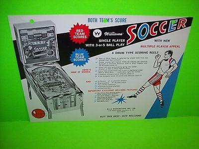Williams SOCCER Original 1964 Flipper Game Pinball Machine Sales Flyer Adv. Rare