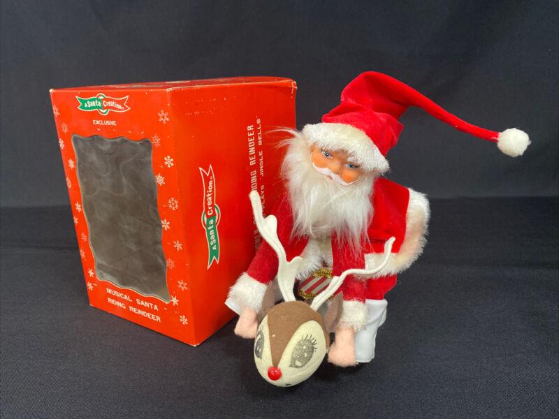 Vintage Musical Santa Riding Rudolph Reindeer W/Box 1950s Sankyo Japan **READ**
