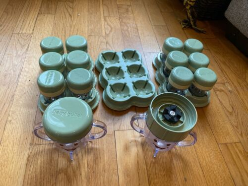 Magic Baby Bullet Food Processor Storage Cups with Trays and cups