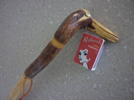 Wooden Walking Stick with Hand Carved Duck Head Handle. 995mm