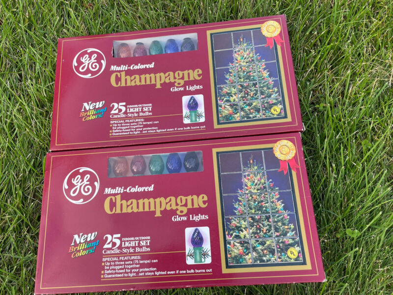 Lot of 2 Vintage GE Glow Bright 25 Christmas Light Sets Assorted Color Bulbs NOS