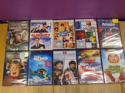 New Lot of (10) Dvds Disney Family Cars Finding Nemo Home Alone Annie
