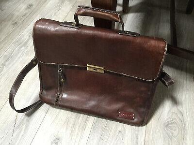 Cortez Colombian Leather Flapover Briefcase 15.6 Inch Laptop Ipad Shoulder Bag