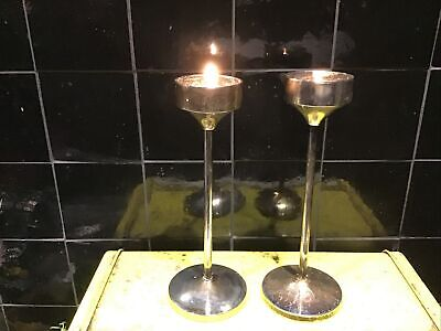 Pair Of Tarnished Metal Candlesticks 22cm Heigh