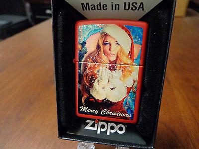 MERRY CHRISTMAS BLONDE PINUP GIRL IN SANTA SUIT ZIPPO LIGHTER MINT IN BOX](Girl In Santa Suit)