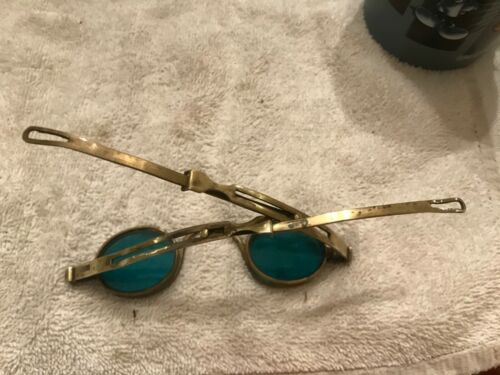 Antique Eye Glasses with green Side Lenses & Adjustable Arms steampunk retro