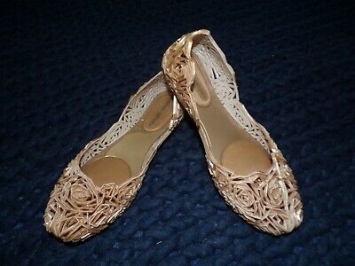 Melissa + Campana Size 7 Gold Jelly Flower Shoes Flats Fitas