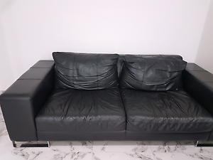 Black leather sofa Bass Hill Bankstown Area Preview