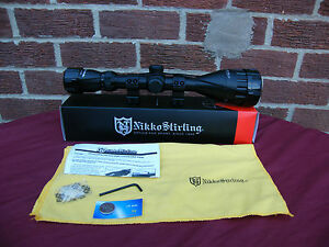 new nikko stirling  mountmaster illuminated scope AO 4-12x50 mil dot  3/8 mounts