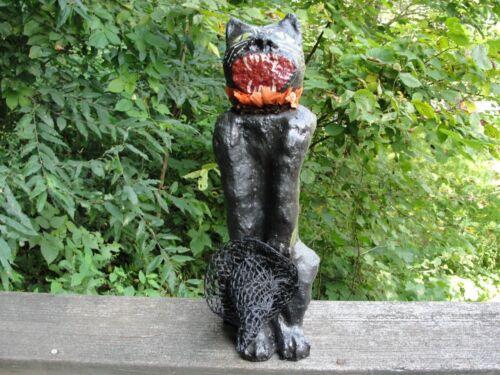 Paper Mache Black Cat Candy Container Halloween Decoration Primitive Folk Art