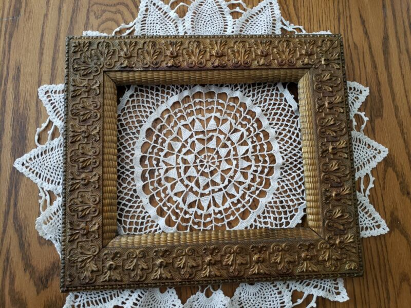 """Antique Ornate Gesso Wood Picture Painting Frame 14.75""""×12.75"""" Fits 8""""×10"""""""