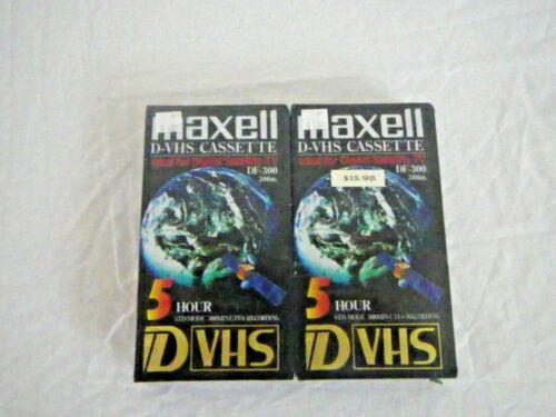 2 Maxell DF-300 5 Hour D-VHS Tape. Brand New in Factory Sealed Package
