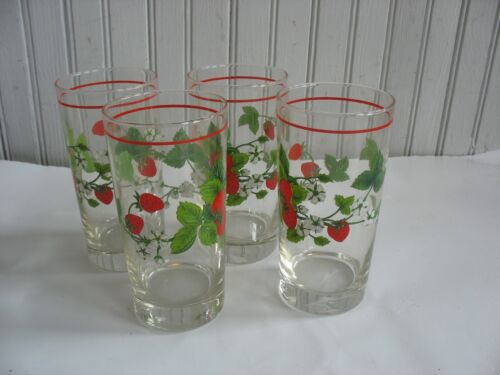 "S/ 8 Vintage Strawberry Tumblers drinking glasses 5 1/2"" Barware Summer Party"