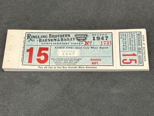1947 Ringling Brothers B&B Circus Tickets, Book of 25 for Radio, New and Unused