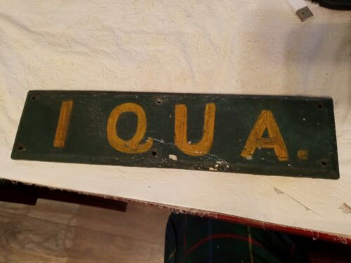 Antique Wood Hand Painted Advertising Sign Gold Letters  Very Old Beveled