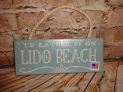 I'd Rather Be On LIDO BEACH Themed Tropical Island Wall Hanging Decoration Blue (Island Themed Decorations)