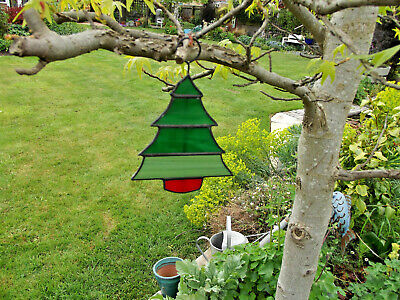 Stained Glass Christmas / Pine Tree with Red Tub - Hanging (Stained Glass Pine Trees)