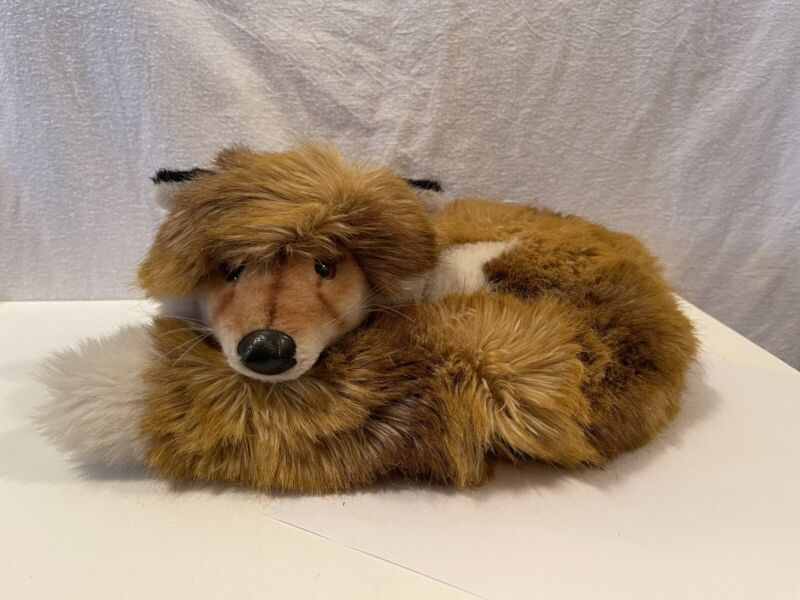 """1977 Vintage Steiff Fox """"Ringel-Fuzzy"""" (Curled Up Fuzzy) Made In West Germany"""