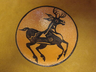 Santo Domingo Indian Pottery Handmade Deer Plate by Lovajo! Hand Coiled PT4034