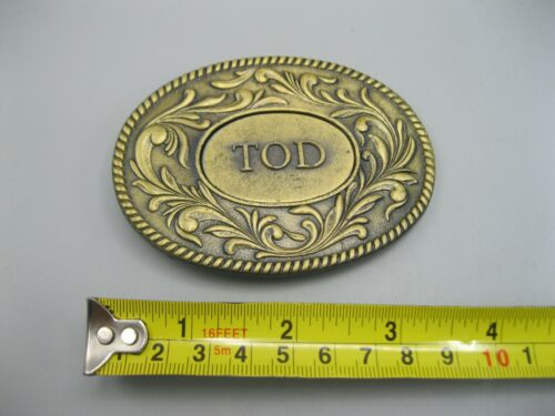 Vintage 1977 The Kinney Co. Tod Name Oval Belt Buckle