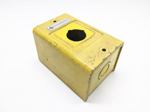 "Allen Bradley 800H-1HZ Yellow Painted Steel Electrical Enclosure 4-1/2""x3""x3"""