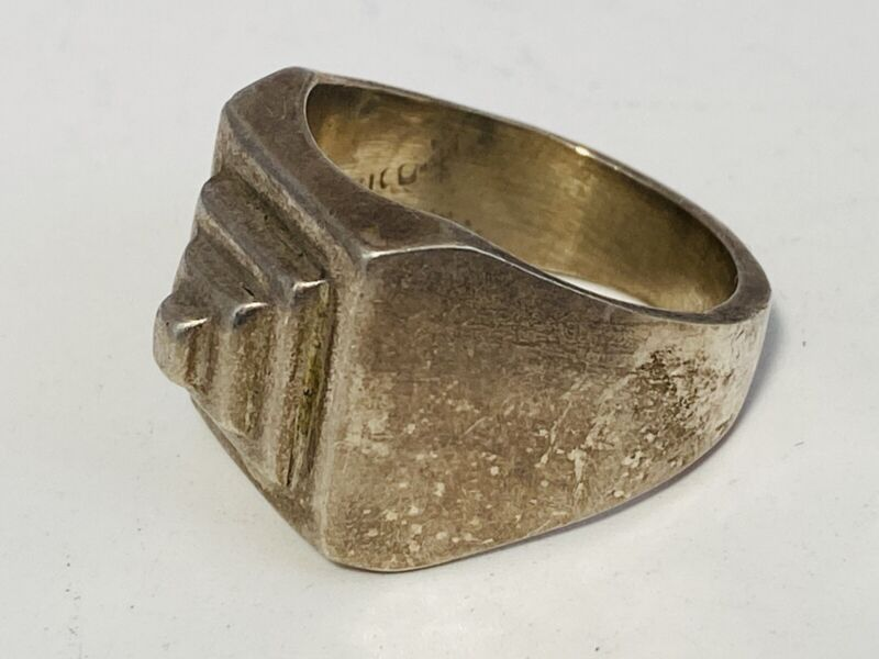 Vintage Mexico Sterling Silver 925 Men's Modernist Pyramid Chunky Ring Size 9.5