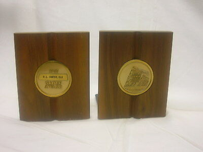 Vintage 1967 Prudential Bookends Wood Group Award 4 1 2  X 5 3 8