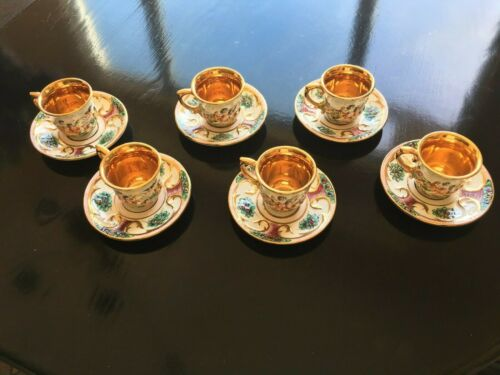 SET OF 6 VINTAGE CAPODIMONTE DEMITASSE CUPS AND SAUCERS