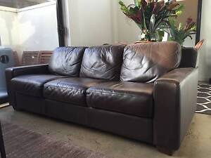 3 seater chocolate leather lounge sofa couch Windsor Stonnington Area Preview