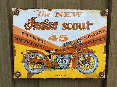 Vintage 1938 Indian Scout Motorcycle Porcelain Metal Biker Cycle Gas Oil Sign