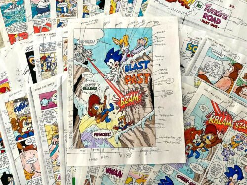 Sonic Hedgehog #32 total 28 pages original color guides SIGNED by Barry Grossman