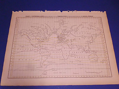 100% ORIGINAL TEMPERATURE WORLD  MAP BY BLACK/HALL C1844 VGC LOW POSTAGE