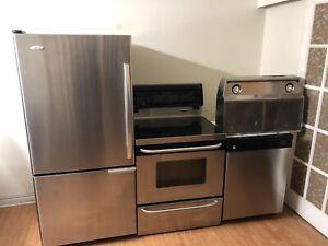 4 piece stainless steel kitchen appliances fridge stove dish