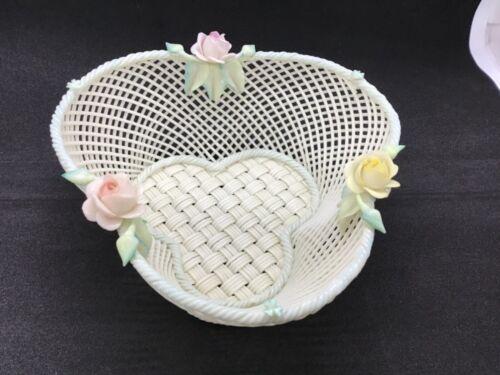 Belleek Ireland Signed Irish Porcelain Woven Basketweave Bowl Floral Trim