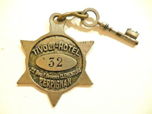 Antique TIVOLI HOTEL Perpignan, France  Hotel Room Skeleton Key & Fob