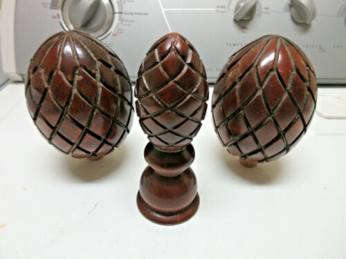 3 Antique Wood Pineapple Finials Salvage Clock Bed Post Curtain  Lamp Finial Set
