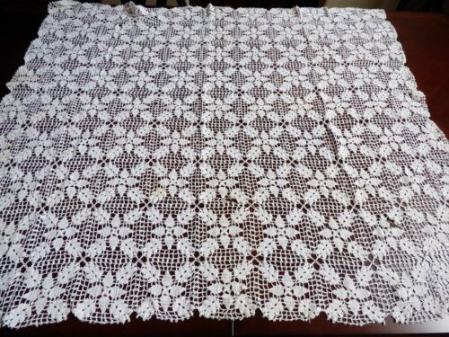 "VTG Handmade Crochet White Lace Accent Tablecloth 49"" x 42"" Flower"