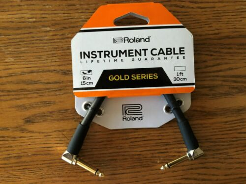"""Roland Gold Series 6"""" Instrument Cable Angled 1/4"""" Jack"""