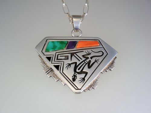 QUALITY Roy Talahaftewa HOPI STERLING SILVER & INLAY LIZARD NECKLACE PENDANT