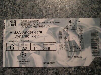 Ticket: Anderlecht - Dynamo Kiev UEFA Champions League (18-10-00)