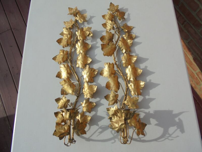 Pr Vintage Made in Italy Gilt Metal Tole Ivy Wall Candle Sconces 20 1/2""