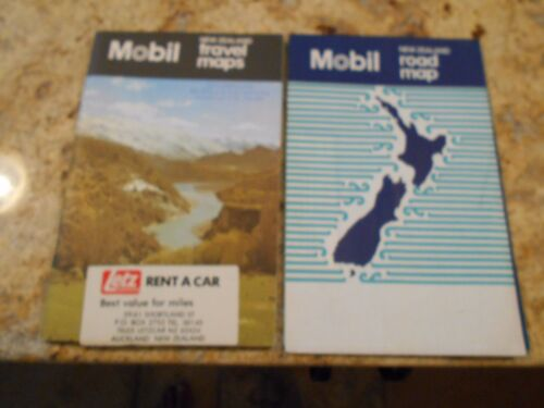 Vintage Mobil Gas Station Travel Map New Zealand & Road Map   free ship