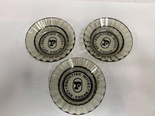 """Lot """"3"""" Vintage  Frontier Hotel Casino Las Vegas Glass Souvenir Ashtray (A3)"""