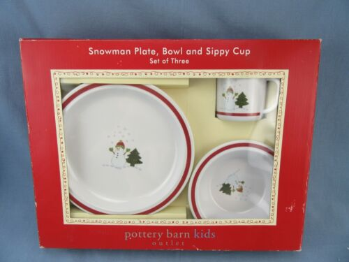 Pottery Barn Kids Holiday Melamine Dish Set Snowman Plate Bowl & Sippy Cup