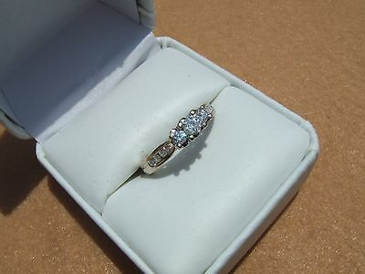 Estate Diamond 3-Stone 14k Solid White Gold Engagement Ring