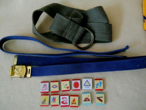 Vintage Cub Scout Belts/ Brass Buckle / Strap / Merit Badge Belt Clips