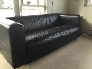 Sofa black, leather North Narrabeen Pittwater Area Preview