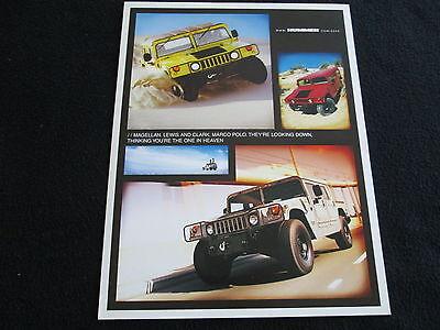2000 Hummer H1 Foldout Brochure Rare Early H 1 Catalog
